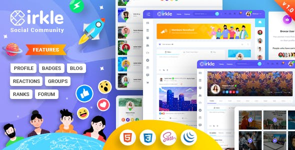 基于Bootstrap v4.5.3框架构造的时尚的社交网站前端界面HTML模板 - Cirkle